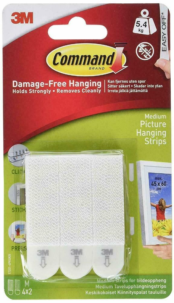 BEST Wall Hang Strip Picture Hanging Strips, MEDIUM, No Nails Or Screws, 4 Pairs